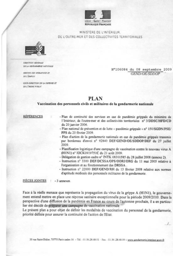 vaccin h1n1 obligatoire circulaire du minist re de l 39 int rieur pour la gendarmerie. Black Bedroom Furniture Sets. Home Design Ideas