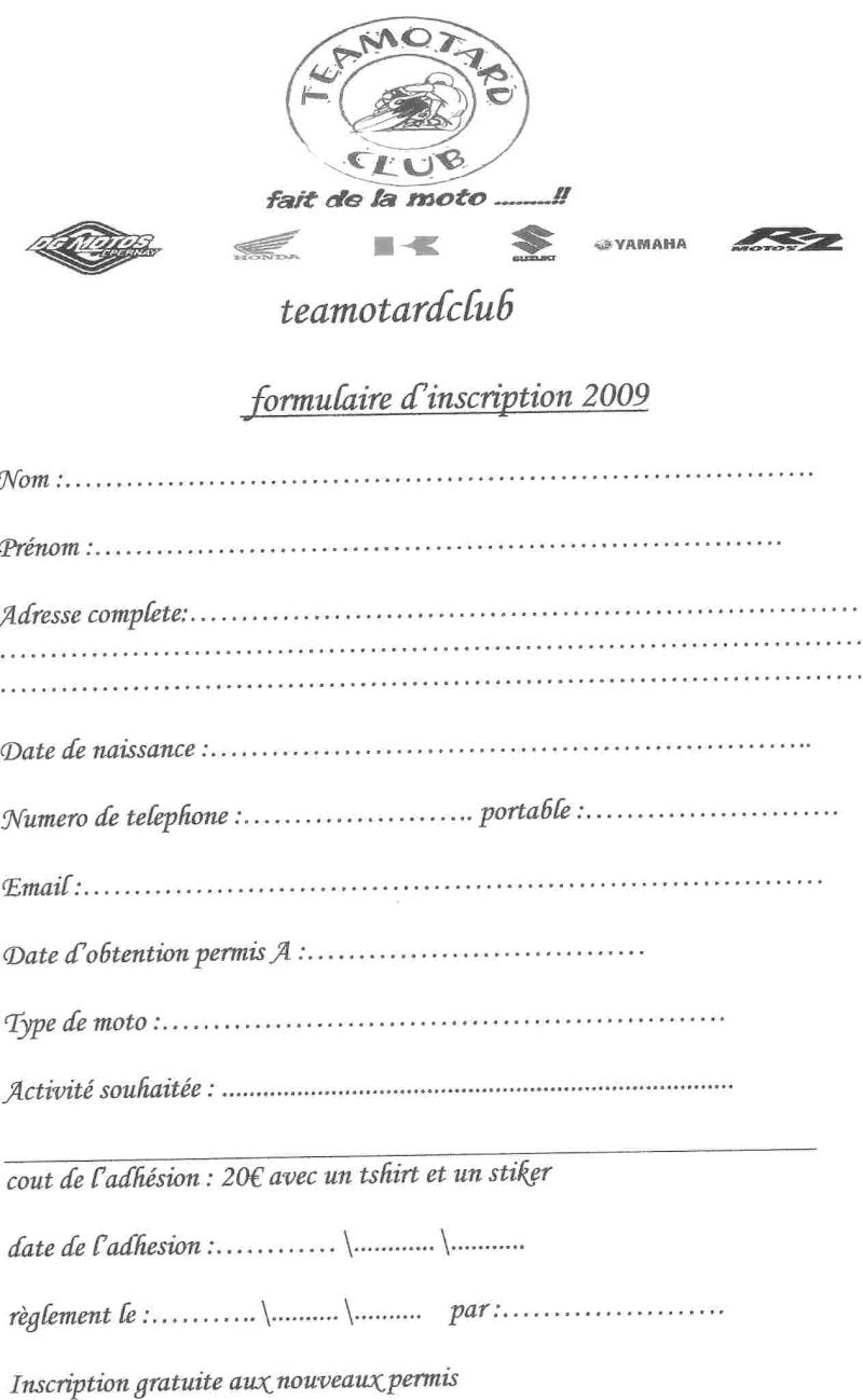 Feuille d 39 adhesion 2009 for Inscription d et co