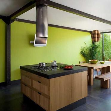 Couleur mur pour cuisine blanche inox for Cuisine verte