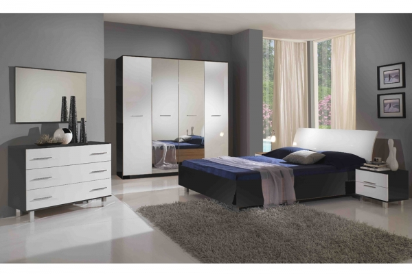 chambre mur blanc meuble noir 134227 la. Black Bedroom Furniture Sets. Home Design Ideas
