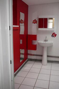 Salle de bain helene for Deco salle de bain rouge