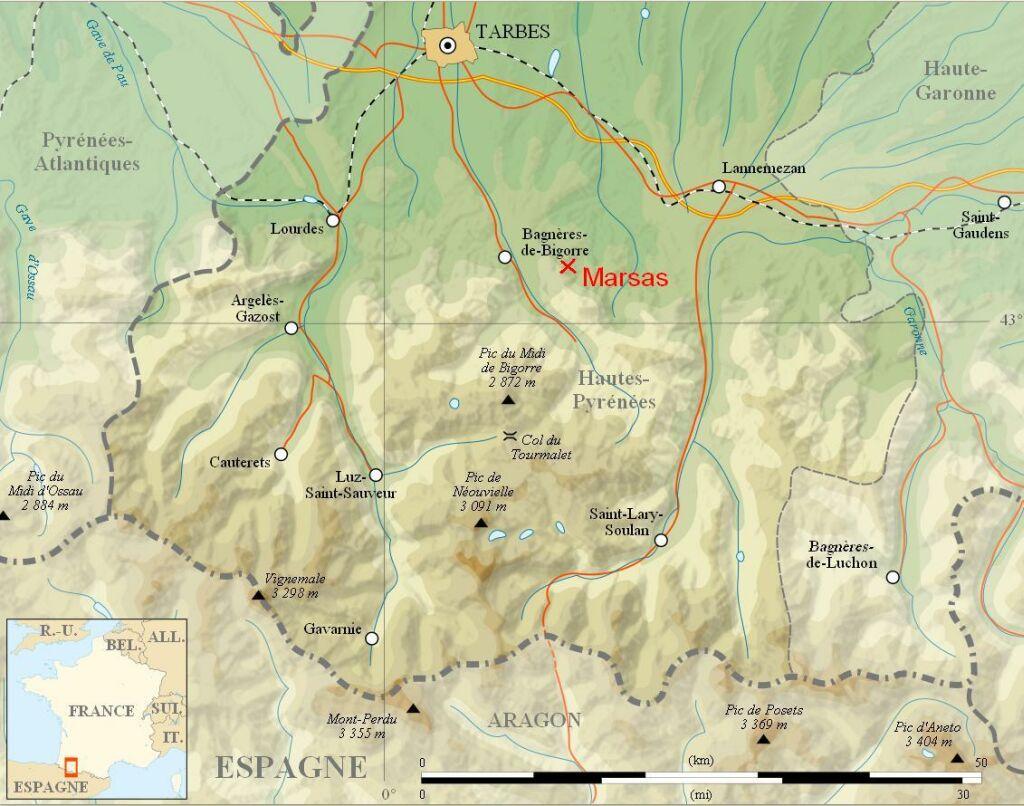 Marsas , altitude 454 m à 840 m , Nord 43.0549 Est 0.2275. title=